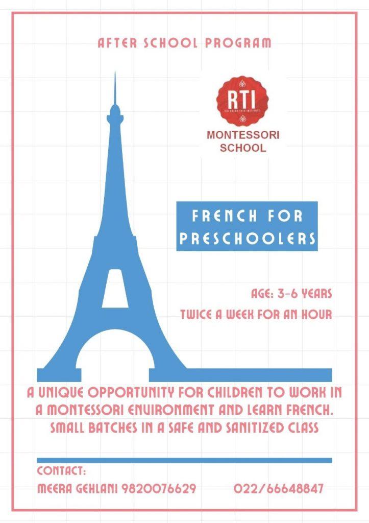 French for Preschoolers at RTI School in Mumbai